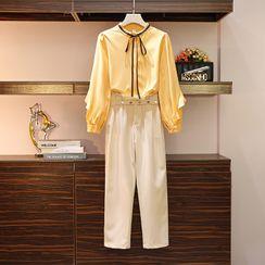 Sugar Town - Long-Sleeve Tie-Neck Blouse / Harem Dress Pants / Set