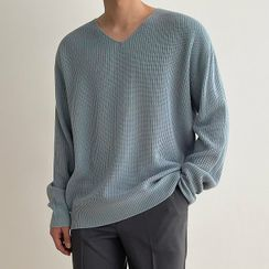 Seoul Homme(ソウルオム) - V-Neck Rib-Knit Top