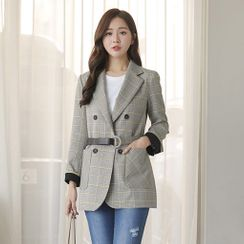 CLICK - Belted Double-Breasted Contrast-Trim Checked Blazer