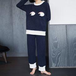 Cinni - Pajama Set: Printed Sweater + Pants