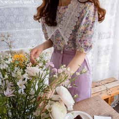 LEELIN(リーリン) - Crochet-Collar Floral Print Blouse