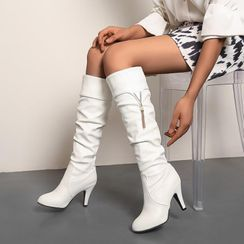 Shoes Galore - Chunky Heel Tasseled Tall Boots