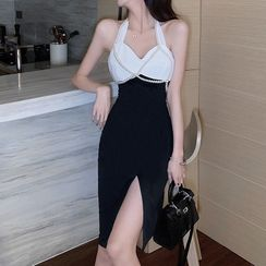 Maine - 套裝: 掛脖拼接塑身連衣中裙 + 仿珍珠項鏈