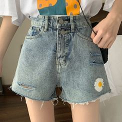 Dear Yours - Distressed Flower Embroidered Denim Shorts