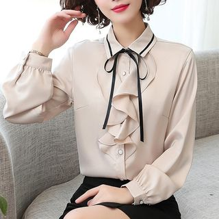 In the Mood - Bow Ruffled Chiffon Blouse