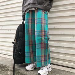 Porstina - 高腰格子直筒裤