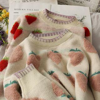 Lemongrass - 水蜜桃 / 草莓提花寬鬆針織毛衣