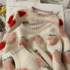 Lemongrass - 水蜜桃 / 草莓提花宽松针织毛衣