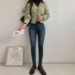 MERONGSHOP - Colored Cropped Cable-Knit Cardigan