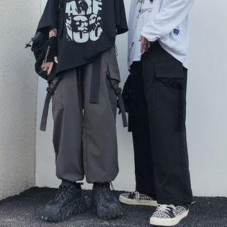 Banash - 吊带抽绳脚口工装裤