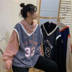 Sisyphi(シシピ) - Lettering Mock Two-Piece Hoodie