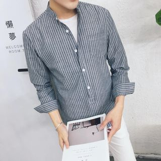Acrius - Stand Collar Long Sleeve Striped Shirt