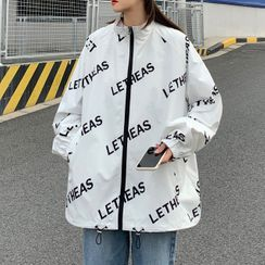 Ink Brush - Couple Matching Lettering Loose-Fit Jacket