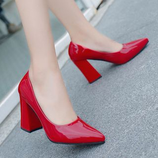 Weiya - Patent Pointed Toe Block Heel Pumps