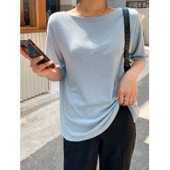 J-ANN - Boatneck Ribbed T-Shirt