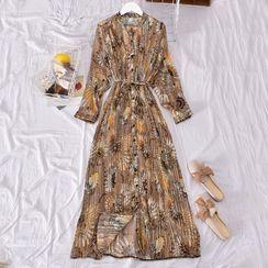 Dudu - Flower Print Long-Sleeve Midi Shift Dress