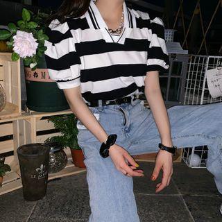 PINPI - 泡泡袖條紋馬球衫