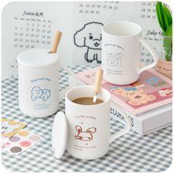 Momoi - Set: Animal Print Ceramic Mug + Lid + Spoon