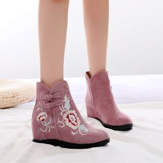 Kyotopia - Embroidered Hanfu Wedge-Heel Ankle Boots