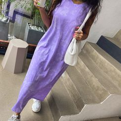 LIPHOP - Round-Neck Dyed Maxi Tank Dress