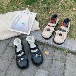 Belbie - 蝴蝶結圓頭瑪莉珍平跟鞋