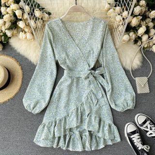 Lucuna - Long-Sleeve Ruffled Floral Print Mini A-Line Dress