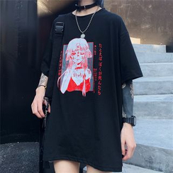 Magma - Girl Print Oversize Short-Sleeve T-Shirt
