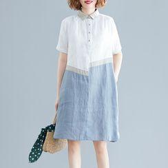 Taragon - Short-Sleeve Color Block Mini Shirtdress