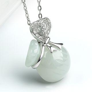 BURMASTIN - 925 Sterling Silver Gemstone Money Bag Pendant Necklace