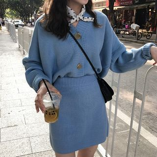 With You - Set: V-Neck Cardigan + Knit A-line Skirt