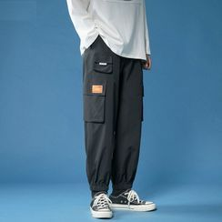 Posive - Pocket Detail Cropped Harem Pants