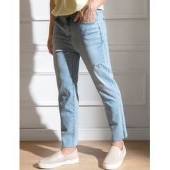 STYLEMAN - Band-Waist Distressed Straight-Cut Jeans