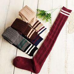 Sock Kingdom - Stripe Trim Stockings