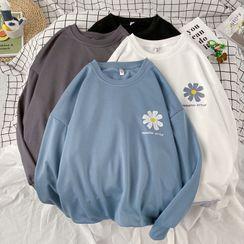 Fizze - Couple Matching Flower Print Long-Sleeve T-Shirt