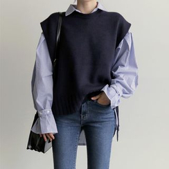 Piwonia - Long-Sleeve Striped Shirt with Ruffled Cuffs/Knitted Vest