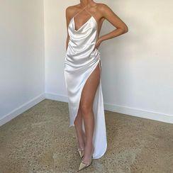 Bashmal - Halter-Neck Side-Slit Shift Dress