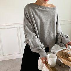 NANING9(ナンニング) - Boat-Neck Plain Sweatshirt
