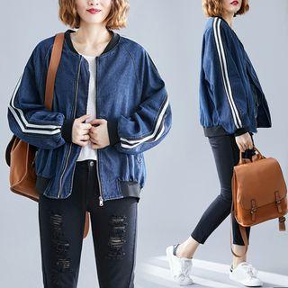 RAIN DEER - Plain Stand-Collar Denim Jacket