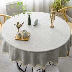 iMpressee - Tassel  Plaid Round Table Cloth