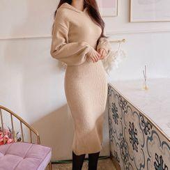 MyFiona - Tube-Hem Long Knit Hoodie Dress