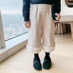 Blue Papa - Kids Fleece Panel Wide-Leg Pants