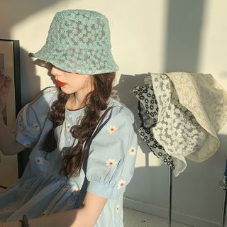 ever after - Daisy-Embroidered Sheer Bucket Hat