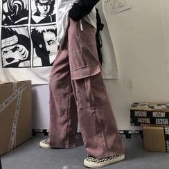 Porstina - 抽繩腰側口袋燈芯絨工裝褲