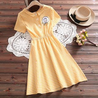 Fancy Show - Short-Sleeve Checked A-Line Dress