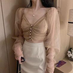 Jeans Kingdom - V-Neck Mesh Blouse / Asymmetric Mini A-Line Skirt