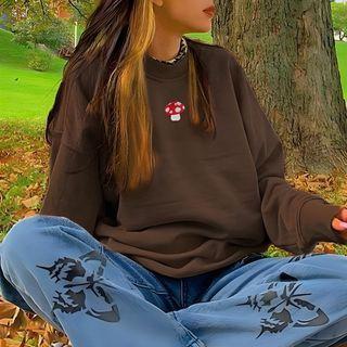 Honet - Mushroom Embroidered Sweatshirt