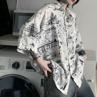 MAPOGO - Elbow-Sleeve Print Shirt