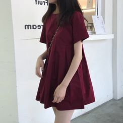 Donnae - Short-Sleeve Plain A-Line Dress