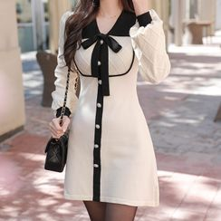 MyFiona - Contrast-Collar Faux-Pearl Knit Dress with Sash