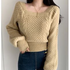HW Studio - Puff-Sleeve Cable Knit Sweater